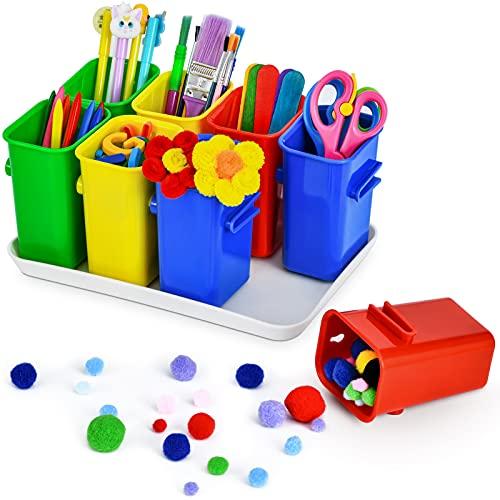 Marbrasse Art Supply Organizer for Kids, 8pcs Removable Pencil Organizer with Art Tray, Craft Crayon Storage Caddy, School Supplies Organizer for Classroom Organization, Homeschool, Playroom(Colorful))