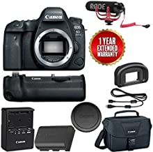 Canon EOS 6D Mark II Wi-Fi Digital SLR Camera Body with BG-E21 Battery Grip Rode + VMGO + Canon 100ES Bag + Warranty