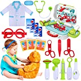 GINMIC Kids Doctor Kit, 22 Piece Kids Pretend Play Toys, Medical Dr Toy Kit with Carry Case, Role Play Doctor Costume for Little Girls, Boys, School Classroom