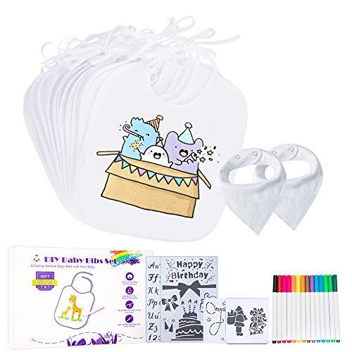 OnlineTek 10 Stück Lätzchen zum Bemalen,2 Weißes Baby Dreieck Schal mit 14 Textilstifte und 4 Malen Schablonen für Jungen Mädchen, Abwaschbar,Baby-Geschenke mit Geschenkbox