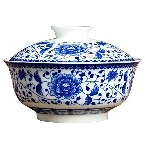 Cuenco de cultura folk cuencos de cerámica azul y blanco, vajilla exquisita para el hogar de 17,78 cm con tapa, plato de sopa para cocina, restaurante, regalos, cuenco de cultura popular (color: G)