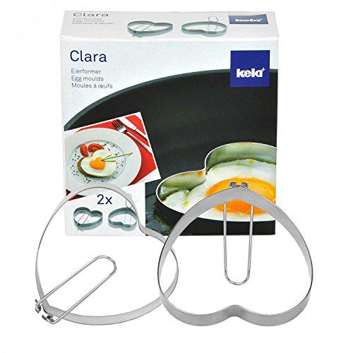 kela 2er Set Herzform für Eier, Spiegeleiform, Eierformer Clara aus Edelstahl