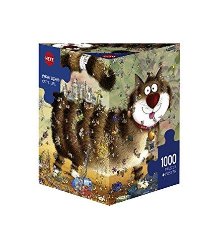 Heye 29569 - Dreieckspuzzle, Marino, Degano Cat's Life, 1000 Teile