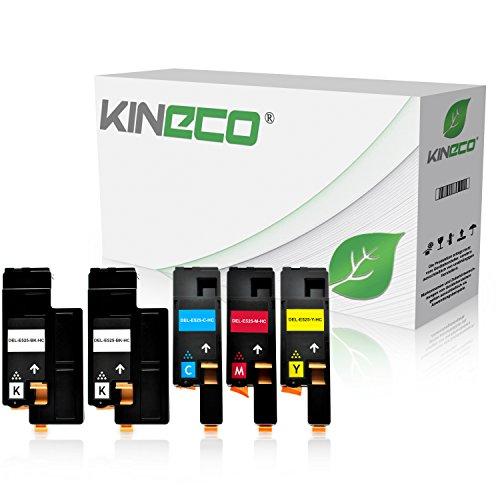 Kineco 5-Pack Toner kompatibel mit Dell E525w Multifunktionsdrucker - Schwarz je 2.000 Seiten, Color je 1.400 Seiten