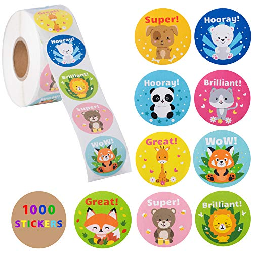 1000 Stickers for Kids in A Roll - Teacher Reward covid 19 (Animal Design Shop Stickers coronavirus)
