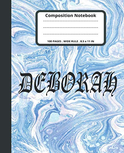 Deborah Marble Composition Notebook: Pastel Blue Marble Wide Ruled Journal Teens Grades K-2 School Exercise Books For Kids Students Girls for Home ... Stationery Notebooks) | 100 Story Pages.