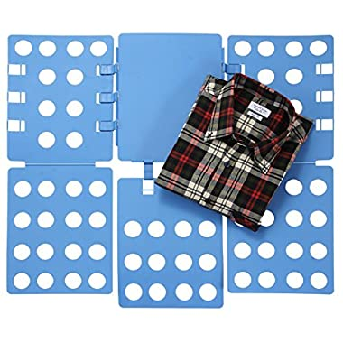 Ollieroo Plastic T Shirt Folder Clothes Fold Board Thickness Adjustable Laundry Folding Board, Blue