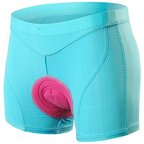 Upgrade Radhose Shorts für Frauen, Damen Loose Mountainbike Radunterhose MTB Radunterwäsche mit 5D Gel Sitzpolster, Fahrradunterhose mit Elastische Atmungsaktive Stoßfest Gepolstert,Blau,XL