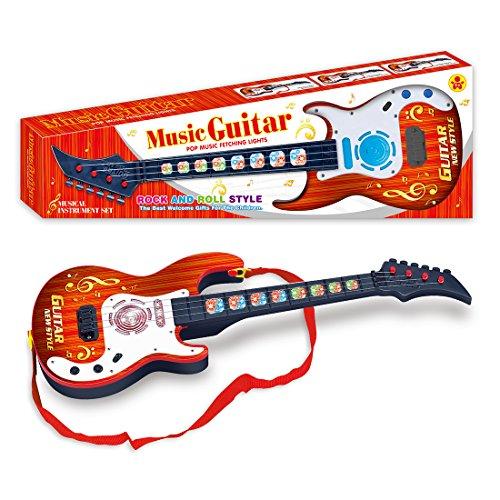 Foxom 4 Corde Chitarra Elettrica Bambini Strumenti Musicali Giocattolo Educativo Chitarra Regalo per Bambini Ragazze Rosso Chitarra Elettrica