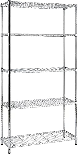 popular EFINE popular Chrome 5-Shelf Shelving Unit, Adjustable Heavy Duty Steel Wire Shelves, 350lbs Loading Capacity Per Shelf, Shelving Units and Storage Rack(36W x 14D popular x 72H) Chrome outlet online sale