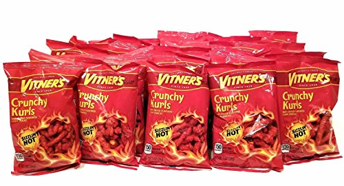 Vitners Flaming Hot Cheese Crunchy Curls 30 Pack 1oz Bags