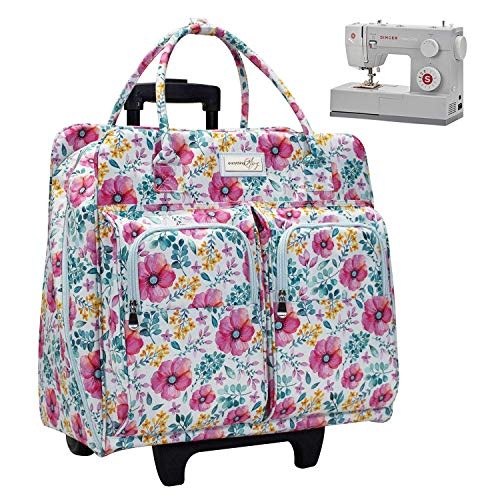 Great Features Of Everything Mary Deluxe Light Blue Floral Rolling Sewing Machine Case - Sewing Case...
