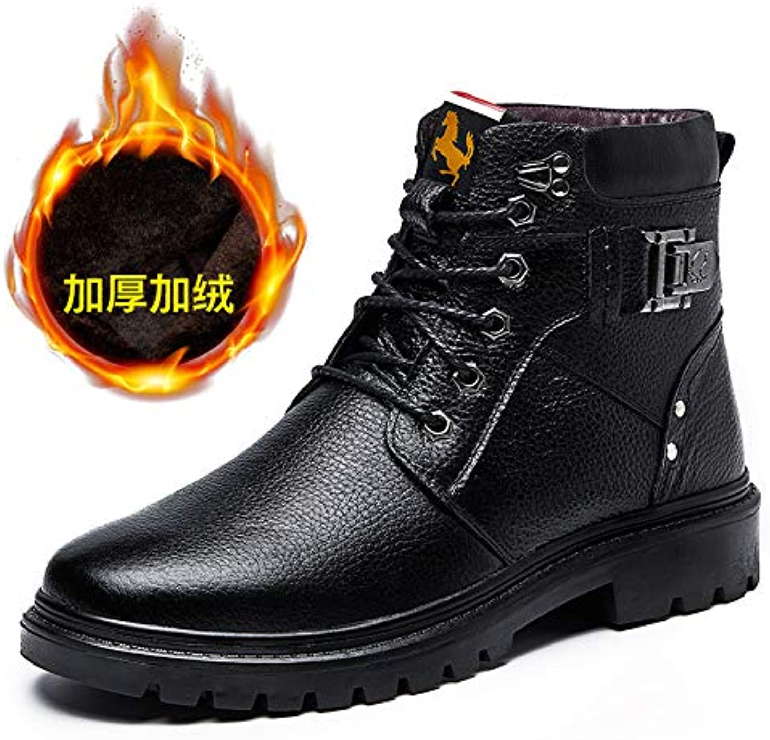 LOVDRAM Boots Men's Warm Cotton Boots Winter New Men'S Casual Martin Boots Thick Thick Snow Boots Fashion Boots