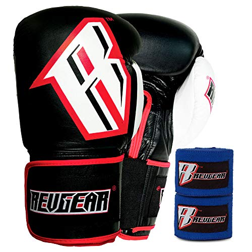 Revgear S3 Sentinel Boxing Gloves and Elastic Hand Wraps Bundle, Blue Hand Wrap, Blue, 16-Pound