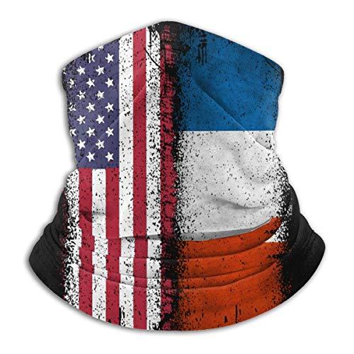 Lfff Pasamontañas Francia EE. UU. Bandera Unisex a Prueba de Viento Deportes Boca Cubierta Bufanda al Aire Libre Calentador de Cuello Bandana pasamontañas Sombreros