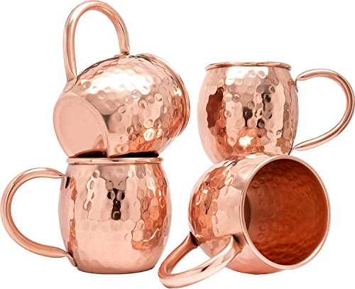 Rastogi Handicrafts Copper Barrel Mug for Moscow Mules - 16 oz - 100% Pure Hammered Copper - Heavy Gauge - No lining lacquer Coated (4) by Rastogi Handicrafts