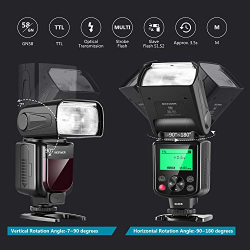 Neewer NW-670 TTL Speedlite Flash Kit for Canon with IR Wireless Remote Control,AA Battery,Diffuser for Canon 7D Mark II,5D Mark II III,IV,1300D,1200D,1100D,650D,550D,80D,70D