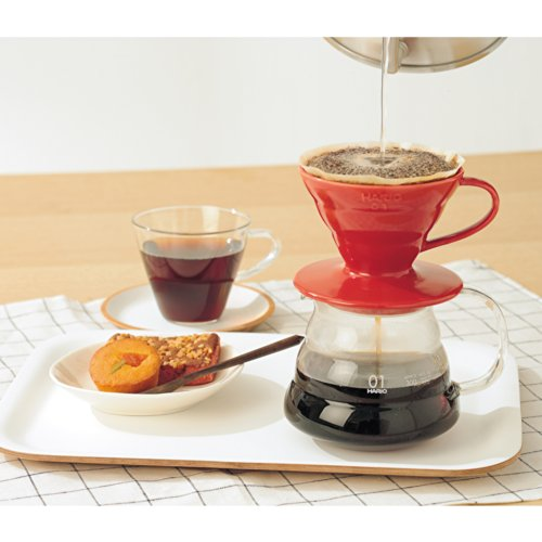 a red Hario V60 used to make coffee for breakfast