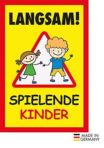Achtung Kinder – XXL Straßen-Schild (Kunststoff Signal) - Warnschild spielende Kinder | Vorsicht Hier Spielen Kinder | Bitte langsam Fahren | Leuchtschild Sicherheit | Autofahrer | auffällig