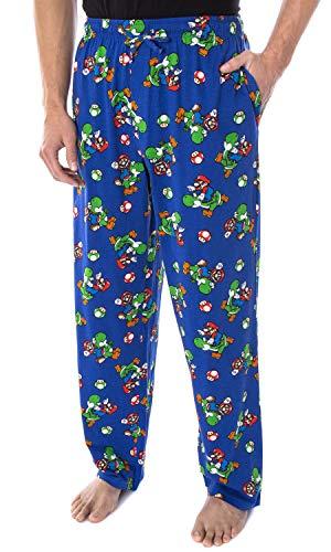 Nintendo Men's Mario and Yoshi Power Up Soft Touch Cotton Pajama Pants 2X Blue
