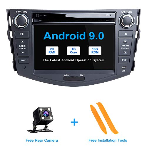 ZLTOOPAI Android 9.0 Auto Radio 7 Inch IPS Scherm Auto Stereo GPS Navigatie Auto Media Player Dubbele Din Hoofd Unit voor Toyota RAV4 2006-2012 Ondersteuning Screen Mirror WiFi Volledige RCA Output SWC