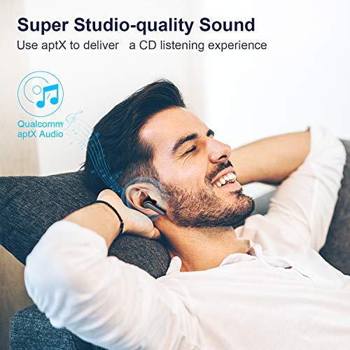 Auriculares Inalámbricos Bluetooth 5.2, Hadisala In-Ear Auriculares con 4 Micrófonos CVC 8.0 Cancelación de Ruido para Llamadas Claras, aptX Graves Mejorados, 25 Horas, IPX7 Impermeable para Deportes