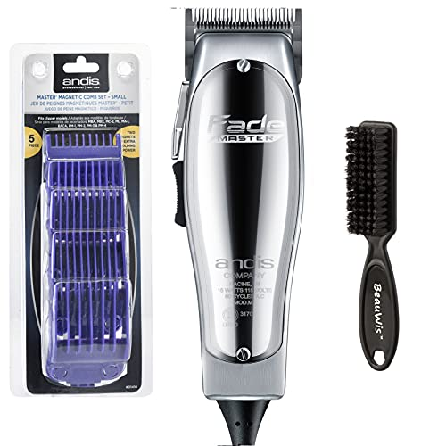 Andis Professional Fade Master Hair Clipper with Adjustable Fade Blade with a Andis Master Dual Magnet 5-Comb Set with a BeauWis Blade Brush
