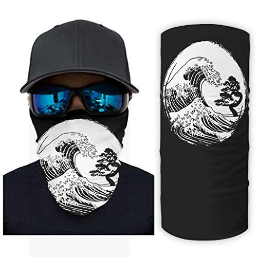 CCMugshop Pañuelo para la cara vintage japonés, gran ola de pino, árbol, con estampado de cuello, UV, color blanco, talla única