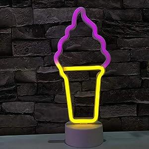 Neon Light-Lumière de nuit de forme de glace à LED NEON NEON - CÉCoration de mariage de fête de Noël Cadeaux à domicile AA Lampe au néon à piles (Color : A)
