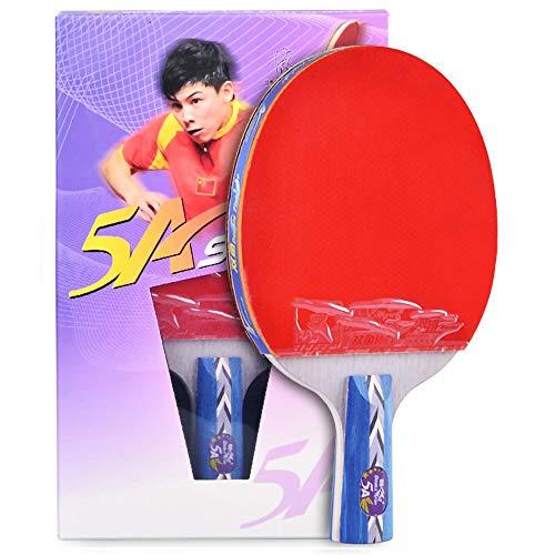 Lerten Palas de Ping Pong,Bate de Tenis de Mesa 5 Estrellas 5 Capas Madera Pura Doble Cara Adhesiva Inversa Adecuada para Actividades Familiares Clubes Deportivos/A/Mango corto