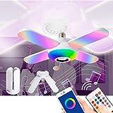 LED Deckenleuchte Bluetooth Lautsprecher Mit Fernbedienung,4 Lichtpaneelen E27...