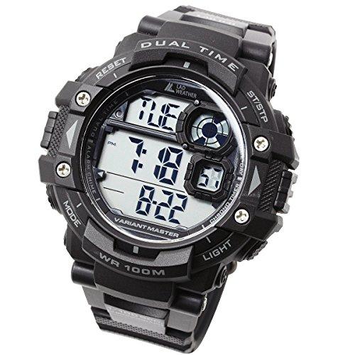 [ラドウェザー]ミリタリーウォッチ サバゲ― アウトドア メンズ腕時計 (ブラック(通常液晶))