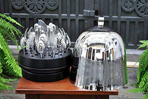 Christofle. 'la Ruche Jardin d'Eden 38 Pieces Silver Plated in Stainless Steel Chest And Stand in Black Lacquered Wood