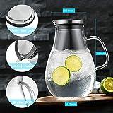 CNNIK Glas Krug, 2L Bleifrei Borosilikatglas Wasserkrug mit Deckel, Glaskaraffe für Heißes/Kaltes Wasser, Milch, Rotwein, Fruchtsaft, Kaffee und EIS Getränke - 9
