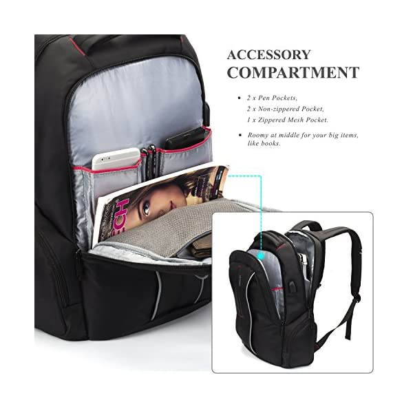 BRINCH Mochila para Ordenador portátil de 17 Pulgadas con Puerto de Carga USB, Mochila de Viaje y Negocios Elegante para Mujer y HombreMochila École