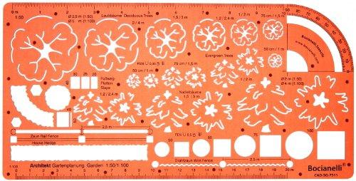 1:50 und 1:100 Maßstab Schablone Zeichenschablone Gartenplanung Landschaft Gartengestaltung Gartendesigns Architekt Garten Gartenpläne Gestalten Planen Technisches Zeichnen