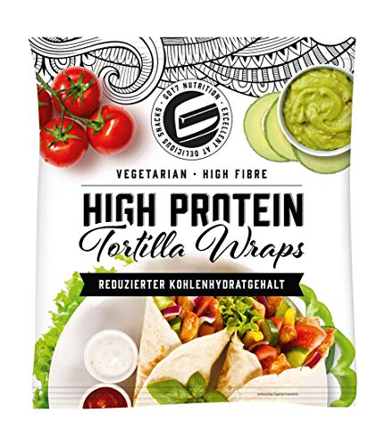Got7 Nutrition High Protein Tortilla Wraps – Vegetarisch – High Fibre – reduzierter Kohlenhydratgehalt - Extra groß 25 cm (4 Wraps - 280g)