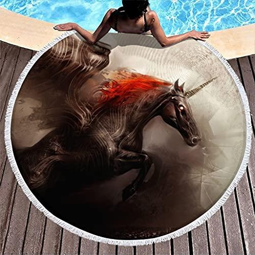 Tobgreatey Toalla de playa redonda con borlas Fantasy hierro unicornio Premium para niños blanco 150 cm