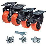 CoolYeah 3 inch Swivel Plate PVC Caster Wheels, Industrial, Premium Heavy Duty Casters (Pack of 4, 2 with Brake & 2 Without)…