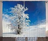 ABAKUHAUS Invierno Cortinas, Árbol Solo Tierras Rurales, Sala de Estar Dormitorio Cortinas Ventana Set de Dos Paños, 280 x 225 cm, Azul Blanco