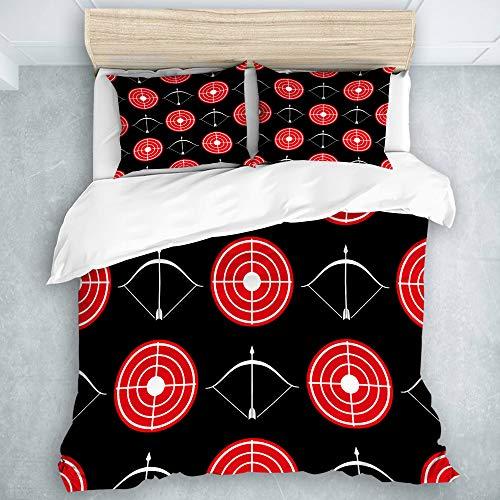 RUBEITA Bettwäsche Set,Mikrofaser,Bogenschießen Muster rotes Ziel und Schießbögen,1 Bettbezug 240x260cm + 2 Kopfkissenbezug 50 x 80cm