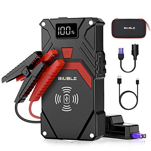 BIUBLE Avviatore Batteria Auto, 2500A 24000mAh Portatile Avviatore di Emergenza (Tutto Gas o 8.0L Diesel), con Caricatore Wireless 10W, Torcia LED, Porta USB