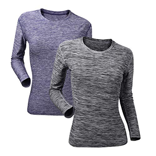 Women's Athletic Long Sleeve Moisture Wicking Sports Workout T Shirt Fitness Running Dry Fit Compression Tops