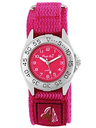Pacific Time Kinder-Armbanduhr Pferde Mädchen Uhr Klett Textilarmband Analog Quarz rosa pink 21653