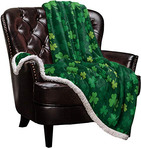Sherpa Fleece Blanket,St. Patrick's Day Green Shamrocks Pattern Bed Blanket Soft Cozy Luxury Blanket 40'x50',Fuzzy Thick Reversible Super Warm Fluffy Plush Microfiber Throw Blanket for Couch