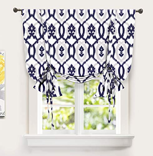DriftAway Evelyn Tie Up Curtain Ikat Floral Pattern Room Darkening Thermal Insulated Window Curtain Adjustable Balloon Curtain for Small Window Rod Pockett 45 Inch by 63 Inch Navy Blue