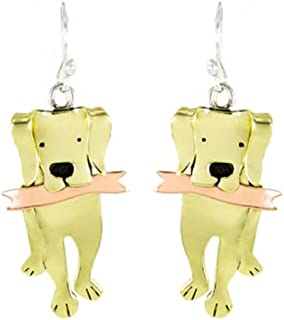 golden retriever dog earrings