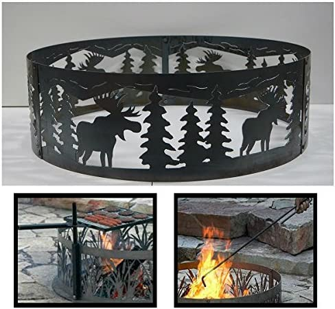 PD Metals Steel Max 70% OFF Oakland Mall Campfire Fire Ring Unpainted Moose Design with F