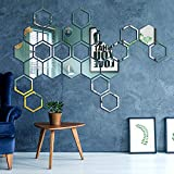 Hexagon Mirror Wall Stickers Decal,24 PCS DIY Removable Acrylic Bedroom Wall Decor Art for Home Living Room Decor Mirror Tiles(Middle Hexagon,4.9x4.2x2.4 Inches)