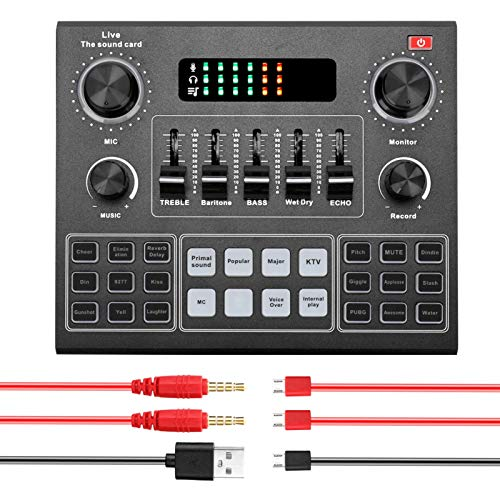 V9 Live Sound Card Set, Portable Audio Mixer Bluetooth Sound Mixer Board Card for Karaoke Singing Music Recording on Smartphone or Computer, Support Two Microphones Connected